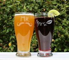 Mr and Mrs Beer Glasses- engagement gift!