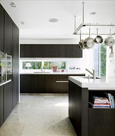black kitchen & white carrara marble  with statement chunky single lever tap