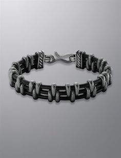 David Yurman | Men | Bracelets: Link Bracelet, Black Leather, 15mm
