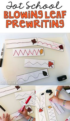 These blowing leaf prewriting cards are the perfect activity for fine motor practice with a fall theme. Great for tot school, preschool, or even kindergarten! Fall Preschool Activities, Preschool Lessons, Preschool Classroom, Writing Activities, Toddler Activities, Motor Activities, Classroom Activities, Preschool Plans, Nanny Activities