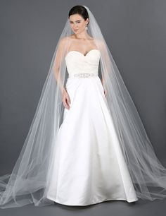 Cathedral Length Single Layer Cut Edge Veil by Bel Air Bridal>>>>