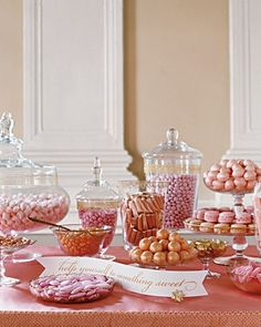 candy buffet - picture white, cream and mint candies including crystal rock candy, lollipops, and gum balls