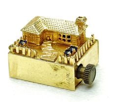 Vintage 14k Yellow Gold & Gemstone Sapphire wind up musical House Charm 1950's