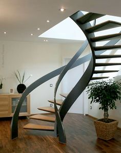 Pin By Vyong Hiew On Spiral Steel In 2019 Circle Stairs Curved Stairs Curved Staircase Circular Staircase Modern Design Indoor Metal Stringer Curved Staircase B Interior Stairs, Interior Architecture, Staircase Architecture, Interior Design, Diy Interior, Apartment Interior, Interior Paint, Escalier Design, Beautiful Stairs