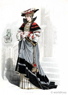 This is a costume an aristocratic woman would have worn in Germany in the 1400s. The dress she is wearing was the fashion during the Renaissance.