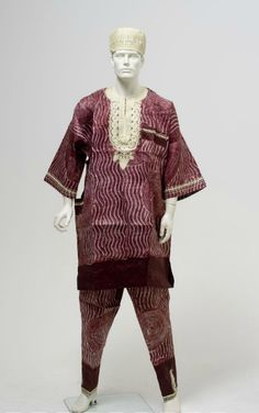 Men's resist-dyed tunic and pants, 1990-5, Nigeria.