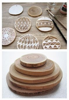 painted or wood burned wood slices