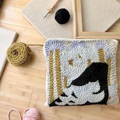 Hooked rug pillow . . . #oxfordpunchneedle #rughooking #supplies #diy #textiledesign #fiberart #yarn #punching
