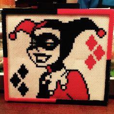 Harley Quinn portrait perler beads by cosmonautyayov