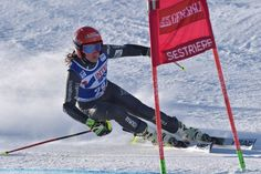 France's Coralie Frasse Sombet competes during the FIS Alpine World Cup Women Giant Slalom on December 10, 2016 in Sestriere, Italian Alps.  / AFP / GIUSEPPE CACACE