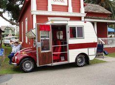 A unique: VW Beetle Campervan Conversion Small Travel Trailers, Vintage Travel Trailers, Vw Conversions, Custom Vw Bug, Vw Gol, Trailer Interior, Vw Camper, Camper Life, Car Trailer