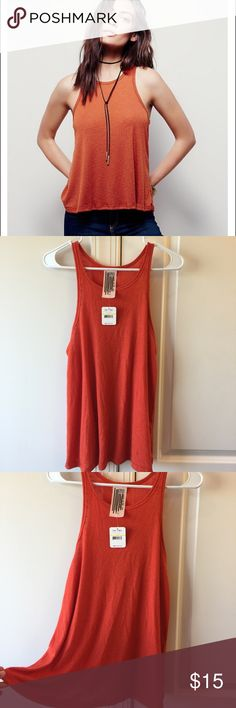 FP LA Nite Tank Top In blood orange. Brand new with tag. Have another orange top too similar. Also have this listed in olive. Free People Tops Tank Tops