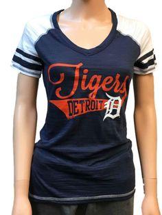 2f4de056 Detroit Tigers SAAG Women Navy Light Baseball Tri-Blend V-Neck T-Shirt