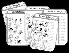 mot et image collectif noir et blanc Learning French For Kids, Teaching French, Apple School, School Organisation, French Classroom, French Resources, French Immersion, Reading Intervention, Kids Learning Activities