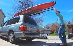 Now you can easily load up your kayak or any other camping gears for your next adventure with this unique roof top loading system. This kayak roof rack Kayak Camping, Canoe And Kayak, Kayak Fishing, Camping Hammock, Fishing Stuff, Van Camping, Kayak Rack For Truck, Kayak Roof Rack, Kayak Storage