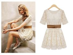 With Belt New 2014 Promotion Women Summer Fashion Sexy Short Sleeve Lace Mini Vintage Elegant Dress Prom Dresses Fast Delivery