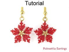 This Christmas beading pattern will teach you how to make beaded poinsettia earrings using diagonal peyote stitch by Simple Bead Patterns Beaded Jewelry Patterns, Beading Patterns, Mosaic Patterns, Painting Patterns, Embroidery Patterns, Bracelet Patterns, Loom Patterns, Art Patterns, Bead Earrings