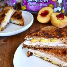 What are your favorite sweet and savory ingredients for a melt? Try @kelseypreciado Turkey Melt complete with peach and brie on Cinnamon Raisin Ezekiel Bread!