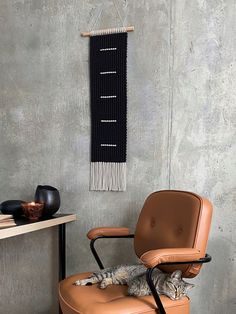 Linen and Black Macrame Wall Hanging, Modern Macrame Mural by KNOT living