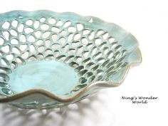 pottery fruit bowl, lace bowl in green, large decorative art piece - No.10. $255.00, via Etsy.