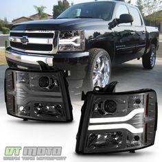 Details About Smoke 2007 2017 Chevy Silverado 1500 2500 3500 Led Drl Projector Headlights