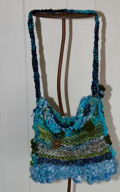 Knit Art Yarn Purse *Blue Green and Turquise * Hand Spun Chunky Wool Yarn * Pocket Book * Clutch * Hand Bag * OOAK * Gift for Her by Kakodah on Etsy