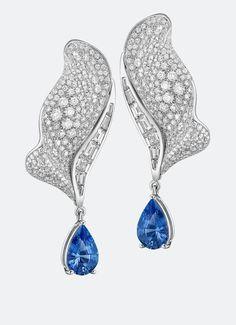 Les volants de la Reine, earrings in white gold set with 366 brilliant-cut diamonds (~2.64cts), 14 baguette-cut diamonds (~1.18ct) and 2 pear-cut sapphires (~2.97cts). by Breguet