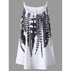 fcd0f77f5fcb7 Plus Size Feather Print Tank Top - White 5xl Mobile Plus Size Cami Tops