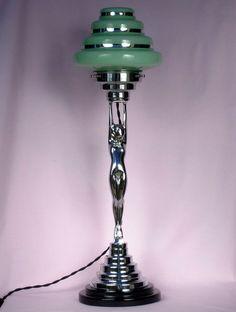 ANTIQUE ART DECO CHROME BAKELITE DIANA LADY LAMP, GREEN GLASS SHADE in Antiques, Art Deco (1925 - 1940), Décor | eBay!