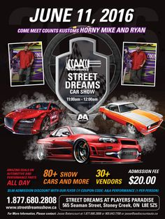 A&A Discount Auto Parts​ is giving $5.00 off Street Dreams Tickets to our friends on Social Media.  Tickets are $20 dollars at the door. Print this flyer and bring it to:  765 Woodward Ave, Hamilton, ON. L8H 6P5 877 Barton St, Stoney Creek, ON. L8E 5G6 This show is going to be hot! http://www.streetdreamsshow.ca/ #streetdreams #save5 #bestcarshow #carshowhamilton #hamiltoncarshow #stoneycreekcarshow #performanceparts #dragracing #racing #musclecars #classic #drift #nvauto #drivers #cars…
