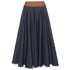 Marni Denim Midi Skirt (655 CAD) ❤ liked on Polyvore featuring skirts, blue, calf length skirts, mid calf skirt, marni skirts, denim skirt and midi skirt