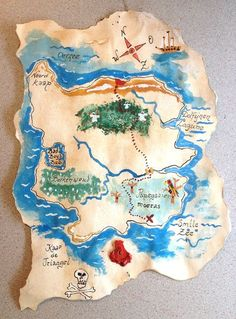 The treasure map. Simply the old look: Pour coffee or tea over white . Art For Kids, Crafts For Kids, Arts And Crafts, Paper Crafts, Pirate Birthday, Pirate Theme, Pirate Treasure Maps, Pirate Crafts, Idee Diy