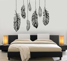 Wall Vinyl Decal Ethnic Love Feather Romantic Decor by BoldArtsy