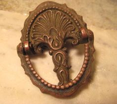 1 Antique Brass Drop Handle Drawer Pull Fitting by StarPower99, $6.95