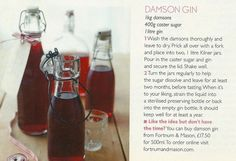 Homemade Damson Gin - perfect for presents or just a warming festive tipple Edible Christmas Gifts, Edible Gifts, Homemade Christmas, Christmas Baking, Gin Recipes, Fall Recipes, Cooking Recipes, Gin Mixers, Medieval Recipes