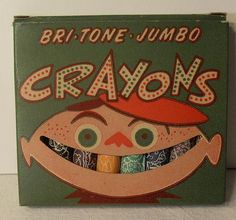 Vintage chalk packaging with smile-shaped window via: Michael Pinto Vintage crayon packaging with smile-shaped window via: Christian Montone Lest anyone imagine that Crayola's 1988 die-cut smile window was the first ever smiling art supply pack… Toy Packaging, Vintage Packaging, Packaging Design, Jumbo Crayons, Crayon Box, Vintage Box, Funny Vintage, Vintage Ephemera, Vintage Paper