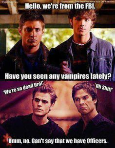 Sam and Dean vs Damon and Stefan. That's how #TheVampireDiaries should end their series