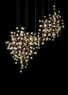 Installation by Lonneke Gordijn and Ralph Nauta: Fragile Nature Chandelier - bronze, LEDs and dandelion seed heads. Cool Lighting, Chandelier Lighting, Modern Lighting, Lighting Design, Lighting Sculpture, Modern Chandelier, Chandeliers, Luminaire Design, Lamp Design
