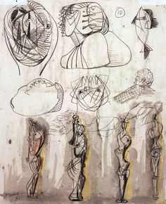 Artists — Henry Moore Family Collection — Images and clips — Hauser & Wirth Figure Drawing, Painting & Drawing, Henry Moore Drawings, Drawing Sketches, Art Drawings, Henry Moore Sculptures, Sculpture Art, Metal Sculptures, Abstract Sculpture