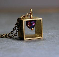 Geometric Jewelry  Brass Cube Pendant by ValerieMiscellanea, $28.00