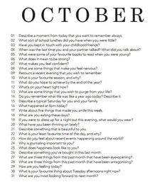 …october – Best Journaling Prompts for Self-Reflection and Self-Discovery Journal Topics, Journal Writing Prompts, Daily Journal, Journal Entries, Writing Challenge, Writing Tips, Bullet Journal Inspiration, Writing Inspiration, Journal Ideas