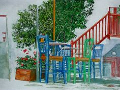 "outdoor cafe Naxos 16"" x 22""  micheal zarowsky / watercolour on arches paper / private collection"