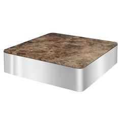 Coffee Table in Polished Steel and Marble by Brueton