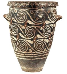 Small Kamares ware jar, with bands and interconnected spirals, Palaeopalatial Period – 1700 BC) Heraklion Museum Antique Pottery, Pottery Art, Heraklion, Ancient Egyptian Art, Ancient Greece, Ancient Aliens, Greek History, European History, American History