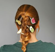 Tutorial How To make your own summer Fruit Hair Clips with dollar store items…