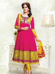 Pink-Yellow Color Pure Georgette-Santoon Designer Anarkali Suit