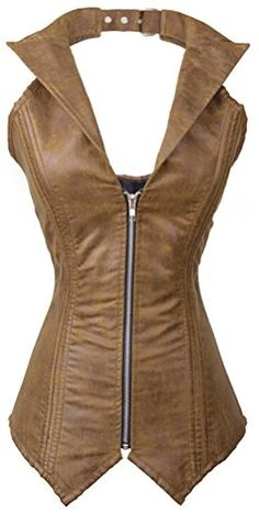 awesome Charmian Women's Faux Leather Steampunk Corset Bustier Zip Top Costume Rock Biker Brown Small