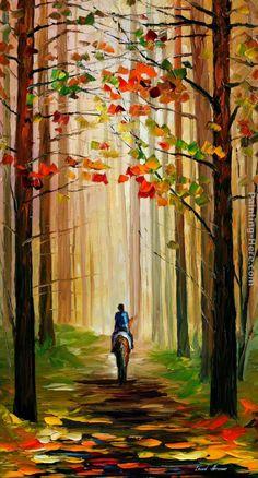 Autumn Stroll On A Horse    Leonid Afremov