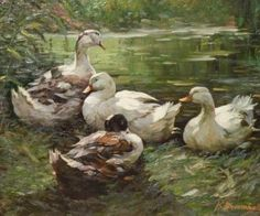 Beautiful oil painting of ducks