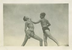 TWO MEN PLAY FIGHTING, 1940's